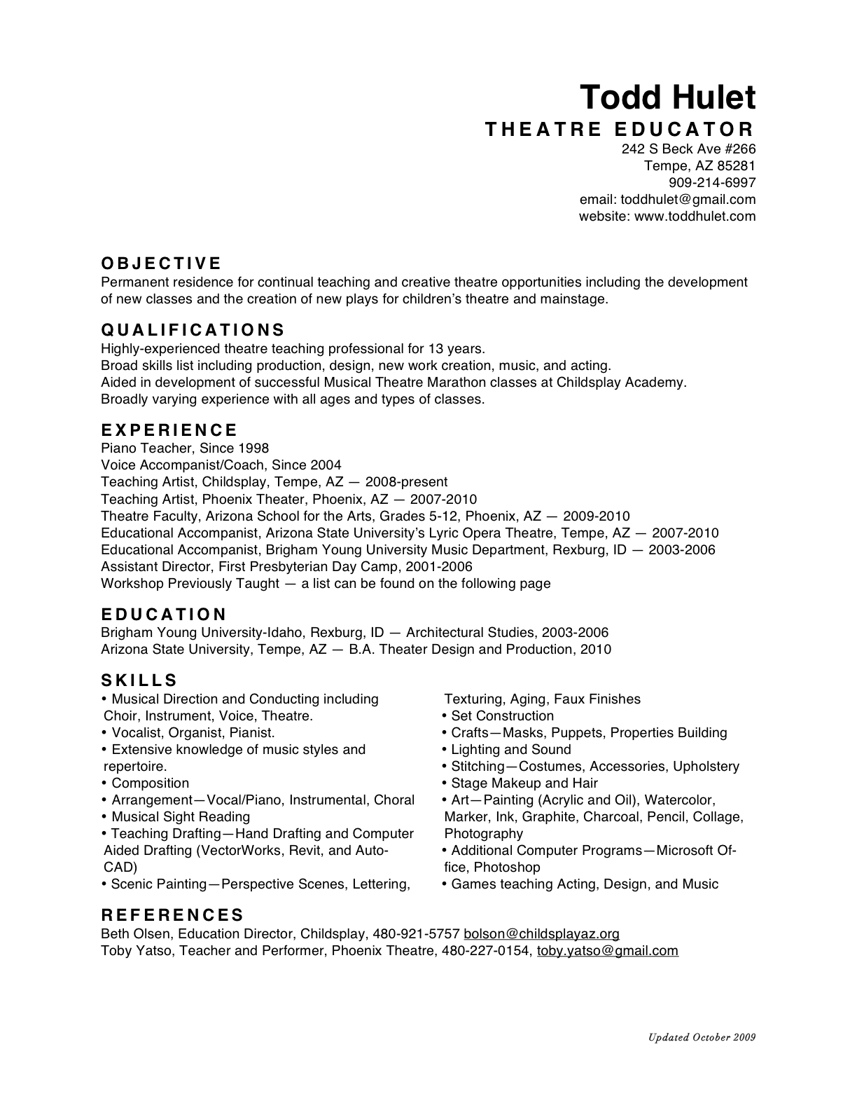 list education on resume